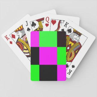 Tejas rosadas, verdes y negras barajas de cartas