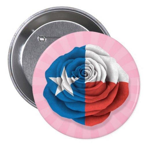 Tejas subió la bandera en rosa pin redondo 7 cm