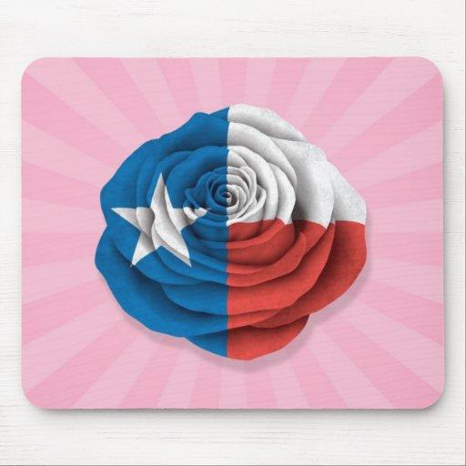 Tejas subió la bandera en rosa alfombrilla de raton