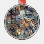 Tejas talladas Chedi de Doi Inthanon Adorno Redondo Plateado