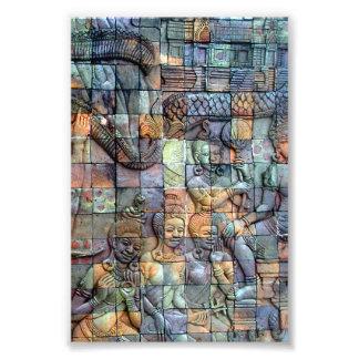 Tejas talladas Chedi de Doi Inthanon Impresiones Fotograficas