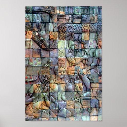 Tejas talladas Chedi de Doi Inthanon Póster