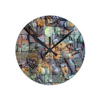 Tejas talladas Chedi de Doi Inthanon Reloj Redondo Mediano