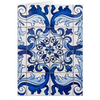 Tejas tradicionales de Azulejo del portugués Tarjeta Pequeña