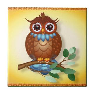 Tejas-Trivets grandes del búho de Brown Azulejo Cuadrado Pequeño