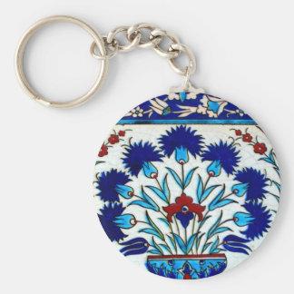 Tejas turcas abstractas florales antiguas del llavero personalizado