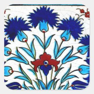 Tejas turcas abstractas florales antiguas del pegatina cuadrada