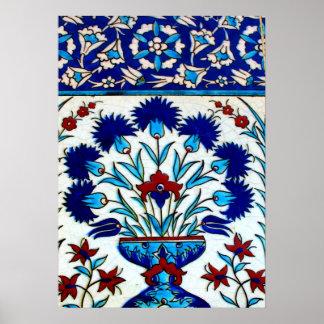 Tejas turcas abstractas florales antiguas del póster