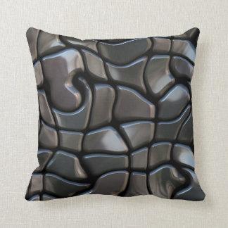 Tejas Twisty del mosaico oscuro de acero de plata Cojines