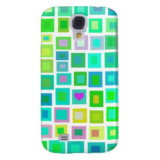 Tejas verdes con Purple Heart Funda Para Galaxy S4
