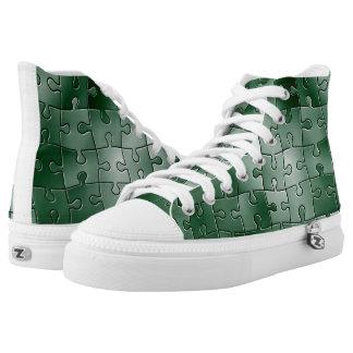 Tejas verdes del rompecabezas zapatillas