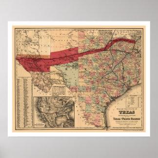Tejas y mapa pacífico 1873 del ferrocarril póster