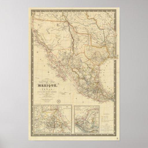 Tejas y México Póster