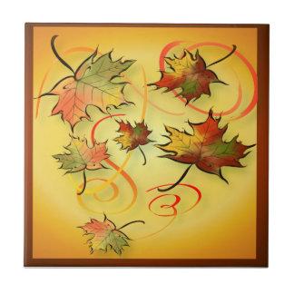 Tejas y Trivets de las hojas de otoño que remolina