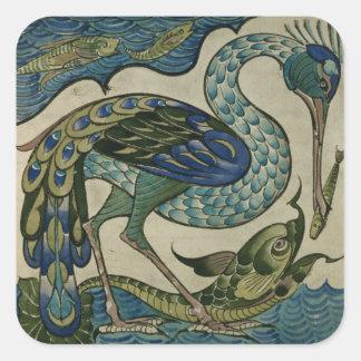 Teje el diseño de garza y de pescados, por la grúa calcomania cuadradas personalizadas