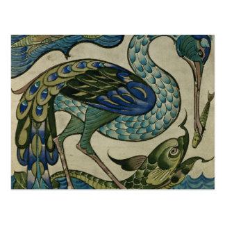 Teje el diseño de garza y de pescados, por la grúa postales