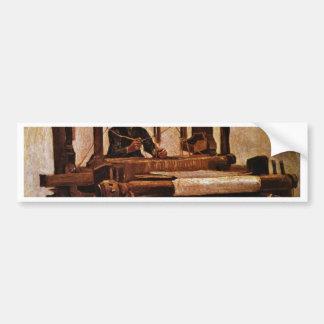 Tejedor en el telar de Vincent van Gogh Etiqueta De Parachoque