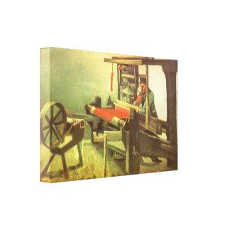 Tejedor que hace frente a la rueda de hilado izqui lona envuelta para galerias