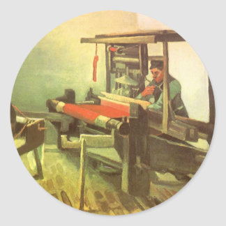 Tejedor que hace frente a la rueda de hilado pegatina redonda