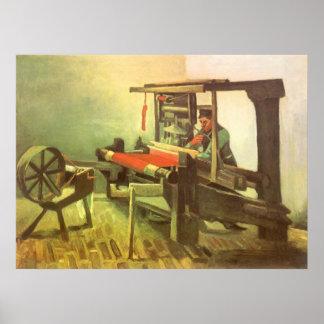 Tejedor que hace frente a la rueda de hilado póster