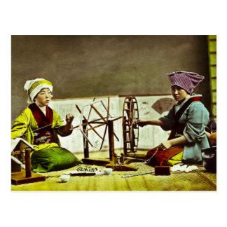 Tejedores de seda japoneses tradicionales tarjetas postales