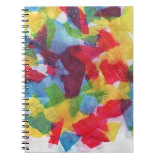 Tejido colorido cuaderno