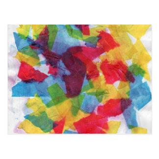 Tejido colorido postales
