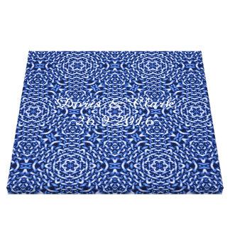 tejido del azul de las cadenas (i) impresión en lienzo estirada