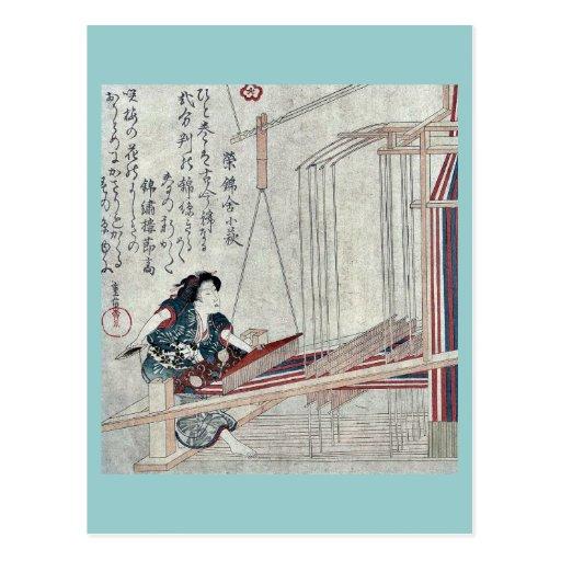 Tejiendo por Yanagawa, Shigenobu Ukiyoe Tarjetas Postales