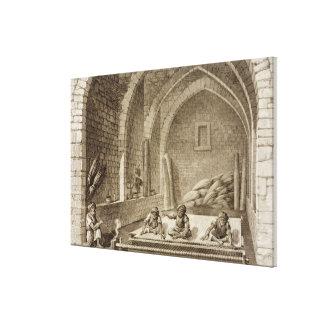 Tejiendo una manta, de artes del volumen II y de c Impresión En Tela