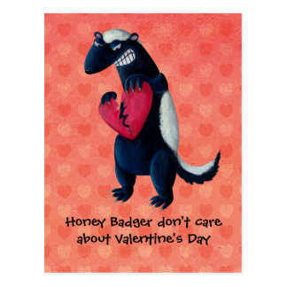 Tejón de miel anti de la tarjeta del día de San Va Postal