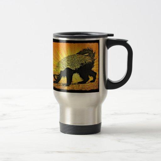 Tejón de miel del resplandor solar taza de café