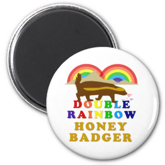 tejón de miel doble del arco iris imán redondo 5 cm