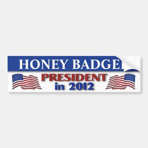 Tejón de miel para el presidente en 2012 pegatina de parachoque
