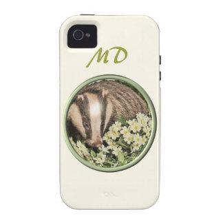 Tejón en el banco de la primavera iPhone 4/4S carcasas