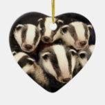 Tejón lindo Cubs Adorno Navideño De Cerámica En Forma De Corazón
