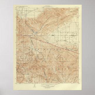 Tejon quadrangle showing San Andreas Rift Poster