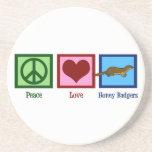 Tejones de miel del amor de la paz posavasos diseño