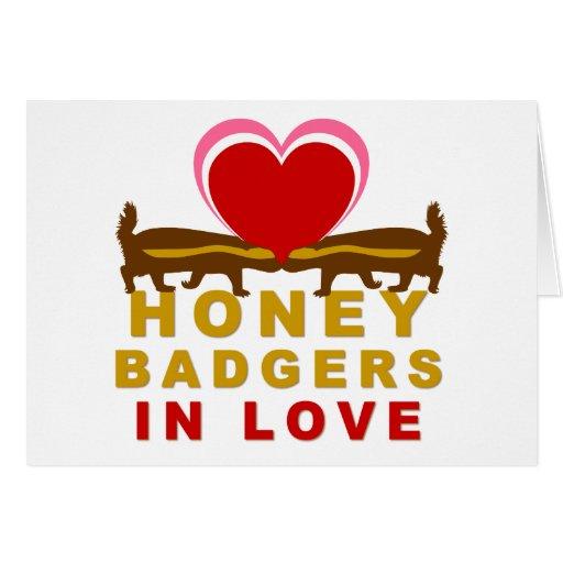 Tejones de miel en amor tarjeta de felicitación
