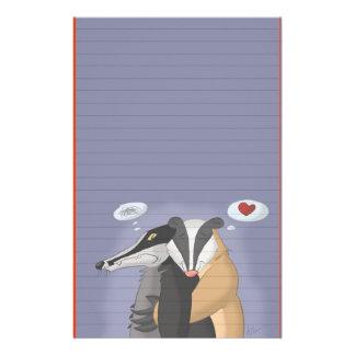 Tejones en los efectos de escritorio del amor (gob papeleria de diseño