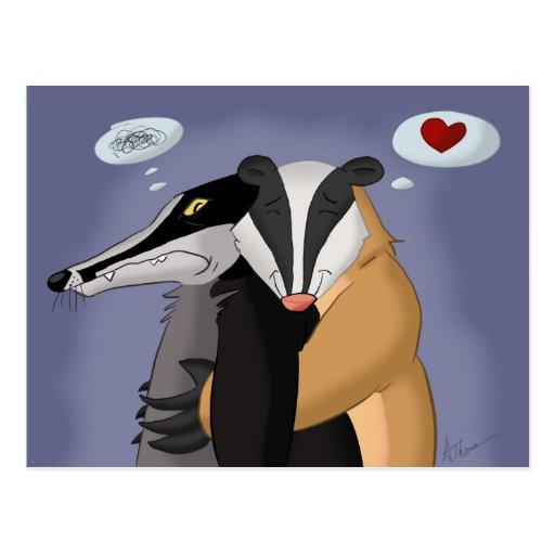 Tejones en postal del amor