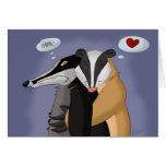 Tejones en tarjeta de felicitación del amor