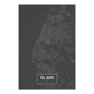 Tel Aviv, Israel (white on black) Print