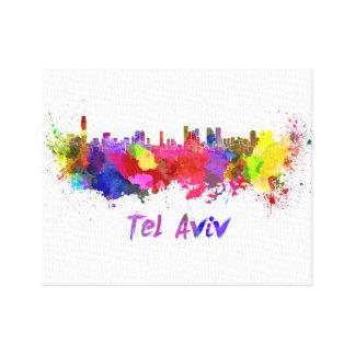 Tel Aviv skyline in watercolor Canvas Print