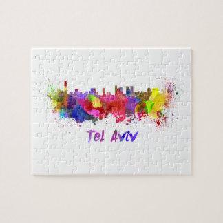 Tel Aviv skyline in watercolor Puzzles