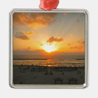 Tel Aviv Sunset Metal Ornament