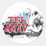 TEL AVIV - un estilo del grunge de la ciudad del # Etiqueta Redonda