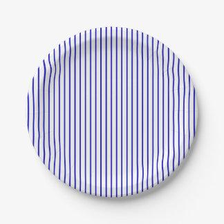 Tela a rayas blanca azul marino platos de papel