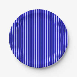 Tela a rayas blanca azul plato de papel de 7 pulgadas