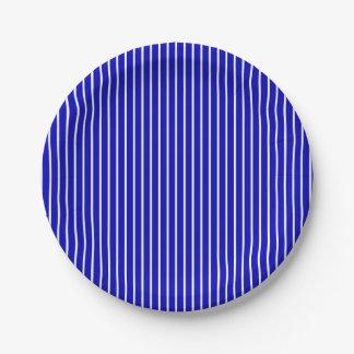 Tela a rayas blanca azul platos de papel